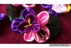 Объёмные цветы из атласных лент Москва